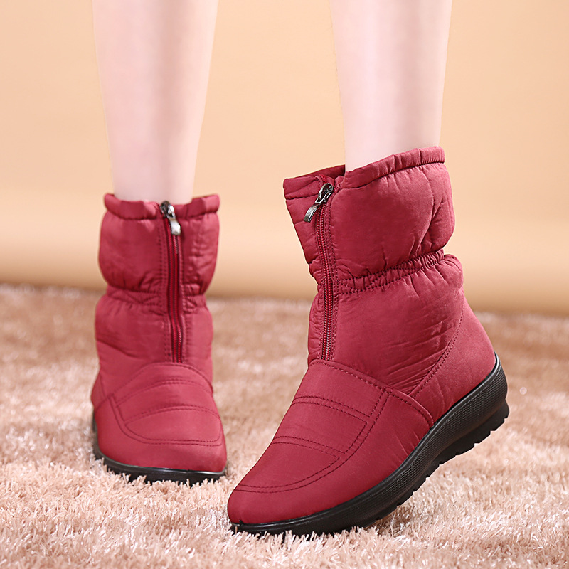 New winter snow boots waterproof womens fashion 2018  red shoes woman women
