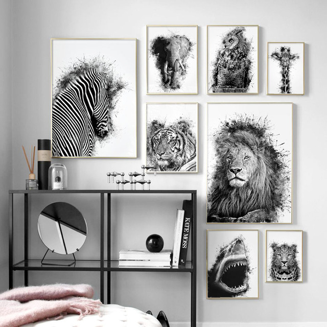Lion Tiger Owl Zebra Wall Art Canvas Painting