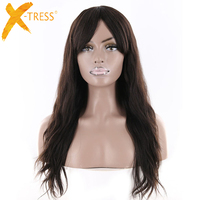 X TRESS Brazilian Remy Natural Wave Human Hair Wigs With Bangs Natural Color Middle Part Hairpiece For Black Women 18 20 22inch