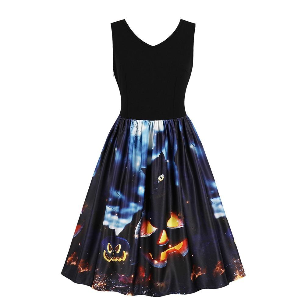 Retro Hepburn Style Halloween Ghost Print Lantern Dress Sleeveless V-neck Party Swing Flared Midi Dress Vestidos Plus Size 4XL