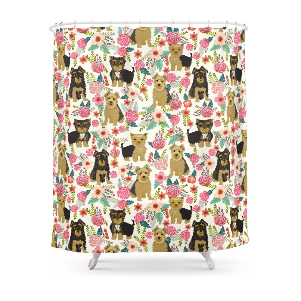 Yorkshire Terrier Cute Florals Must Have Gifts For Dog Lover Yorkie Owners Delight Secret Gifts Art Shower Curtain Set