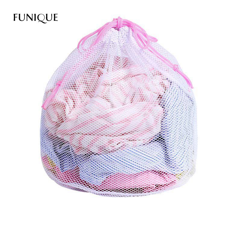 Portable Drawstring Bra Underwear Laundry Bag Mesh Pouch Household Cleaning Tools Accessories Strong Washing Machine Thicken Bag
