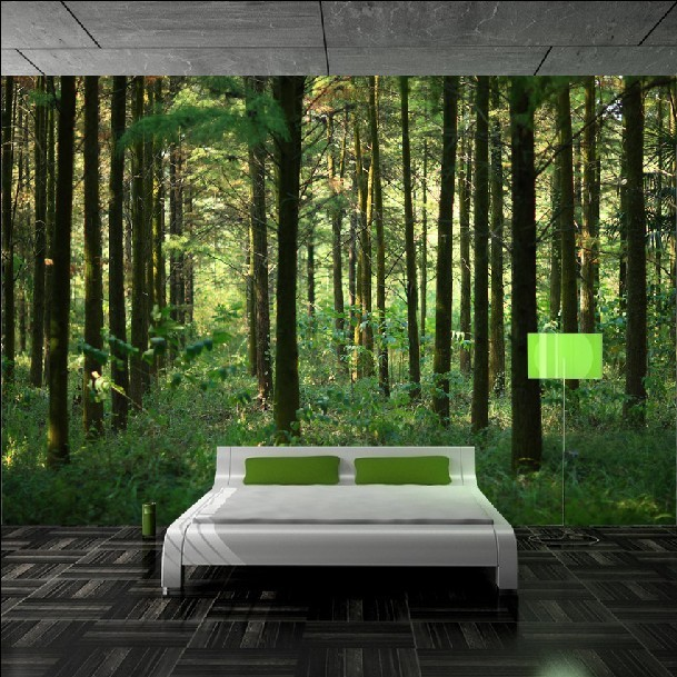 Custom 3d green nature forest scenery photo wallpaper for Nature wallpaper for bedroom