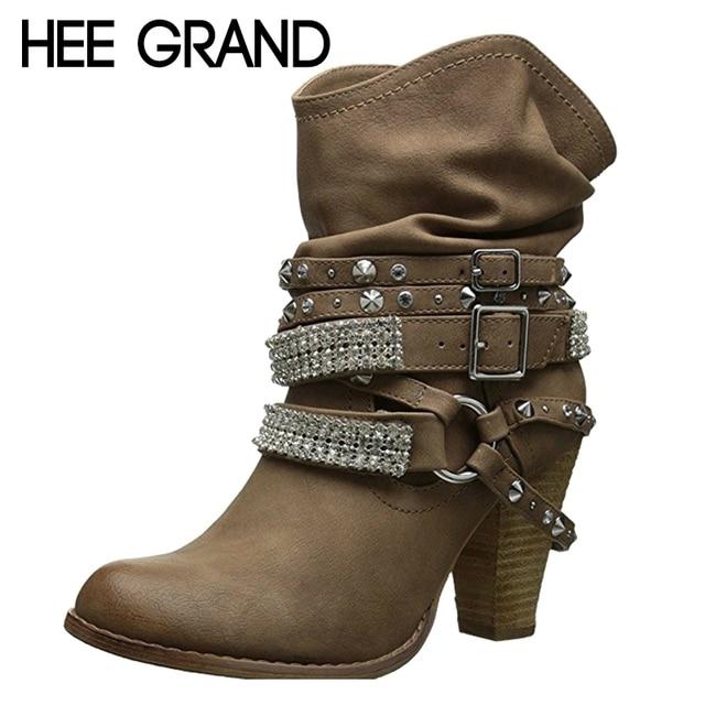 118afc9e57 HEE GRAND High Heels Frauen Stiefel Herbst Schnalle Mid-Kalb Stiefel  Elegante Slip Auf Pumpen