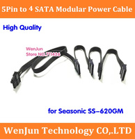 5 Pin male 1 to 4 SATA 15pin Modular Power Supply Adapter Cable for Seasonic SS 620GM withfree shipping 50pcs 100pcs/lot