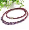 Natural garnet amethyst beads necklace fine jewelry bijoux vintage collares collier necklace women beads 3-4mm