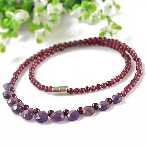 Natural garnet beads necklace fine jewelry bijoux vintage collares collier necklace women beads 3-4mm