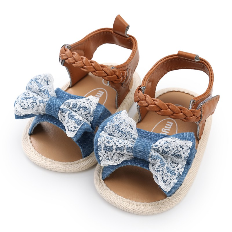 Baby Girls Shoes Fashion Canvas Bow-knot Shoes Kids Beach Shoes Baby Walking Shoes First Walkers