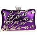 Las mujeres Bolsos de Embrague Rhinestone Cadena de Oro Bolso de Noche Bolso Nupcial de La Boda Del Partido de Cena de Lujo Púrpura bolsas mujer XA621C