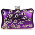 Women Clutch Purses Rhinestone Gold Chain Evening Bag Luxury Bridal Wedding Dinner Party Shoulder Bag Purple bolsas mujer XA621C