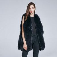 Natural Fox Fur Jacket Women's Fur Vest Winter coat female Genuine Leather Jacket Fur Tanker 2018 New Sleeveless Warmer Seat