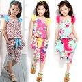 Бесплатная Доставка девочка набор детской одежды шаровары случайные twinset для девочек