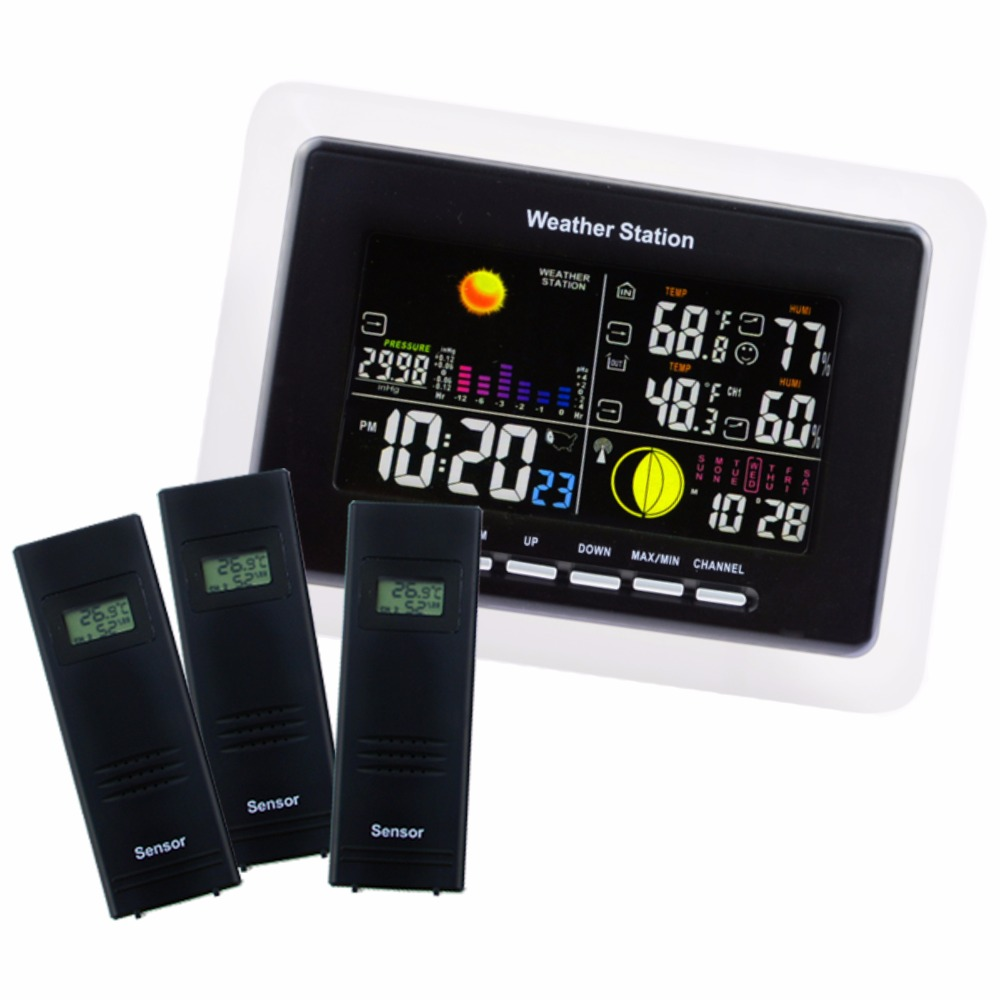 Weather Station + 3 Wireless Sensor 5 Weather Forecast LED Backlight Humidity Temperature DCF77 as RCC Receiver