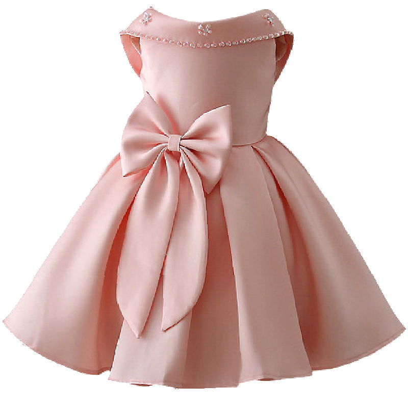 2018 Petal Big Bow Satin Girls wedding dress infant princess dresses for girls clothes Tutu dress Christmas costume Fancy prince girls dresses trolls poppy cosplay costume dress for girl poppy dress streetwear halloween clothes kids fancy dresses trolls wig