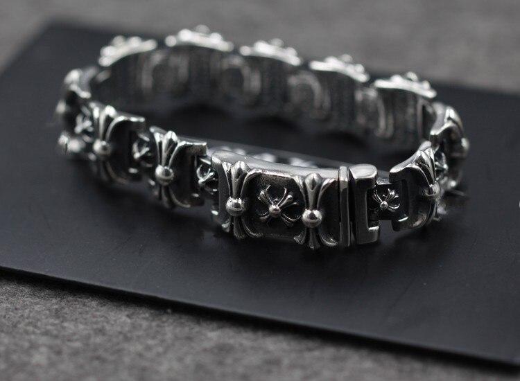 Оптовая Продажа 925 стерлингового серебра импортированы из Таиланда властная Крестоносец цветок браслет для мужчин 048512 Вт
