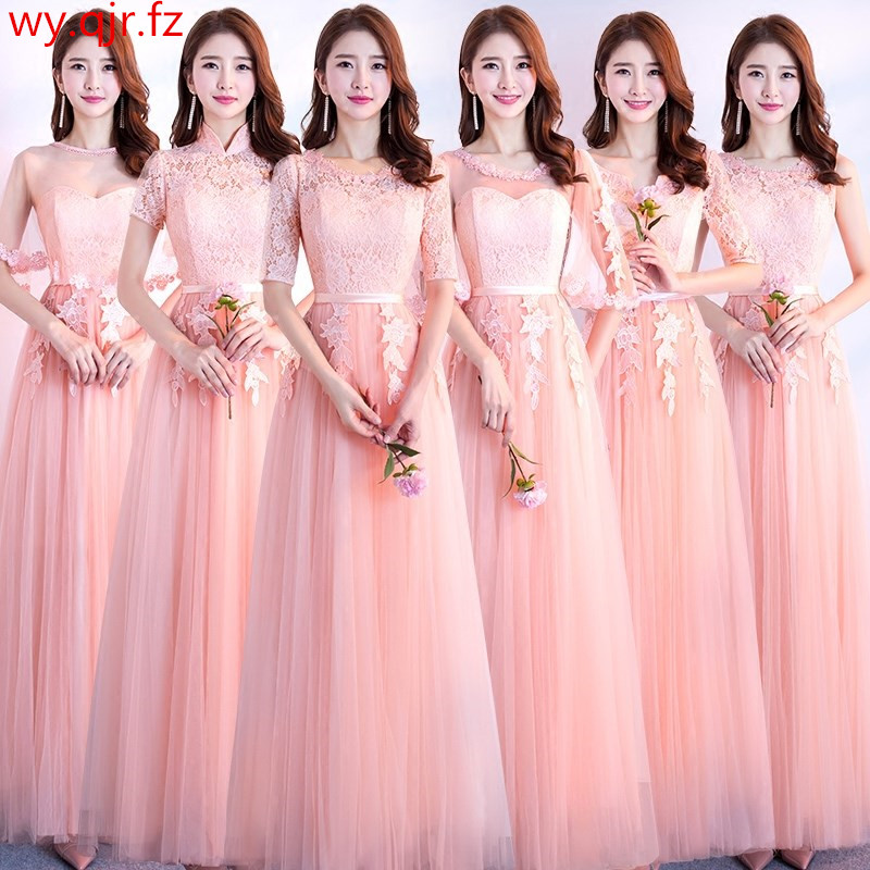 JYX88#Lace Up Red Long Bridesmaid Dresses Pink Grey Spring Summer 2019 Sisters Group Wedding Party Prom Dress Wholesale Women