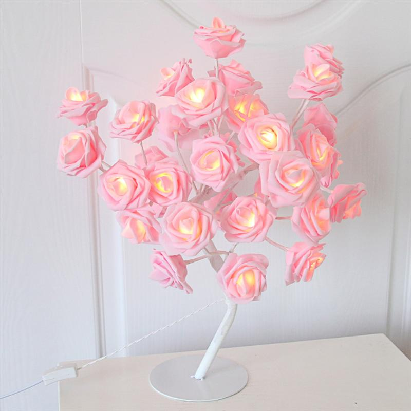 Tree Light Pink Rose Flower Table Lamp Home Decoration Lights with 24 LEDs for Wedding Valentines Day EU Plug