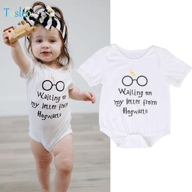 2018 mamelucos del bebé blanco bebé niña ropa verano divertido - Ropa de bebé