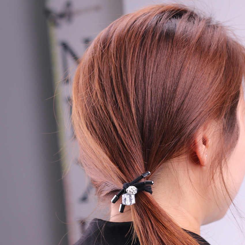 1PC ผมวงยืดหยุ่นผมคริสตัลเจาะแหวนผมผู้หญิงผมหญิงอุปกรณ์เสริมผมหางม้าเชือก Hairband เด็ก headwear
