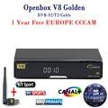 1 Año Cline Cccam Receptor de Satélite DVB-S2 DVB-T2 V8 de Oro apoyo PowerVu Con 1 UNID IPTV USB Wifi Europa Italia España servidor