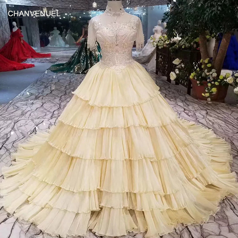 LSS308 fairy yellow evening dresses champagne high neck cake style party dress more layer short sleeves girls pageant dresses