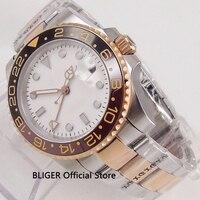 Zafiro BLIGER 40mm blanco esterilizado Dial negro cerámica bisel función GMT movimiento automático reloj de los hombres