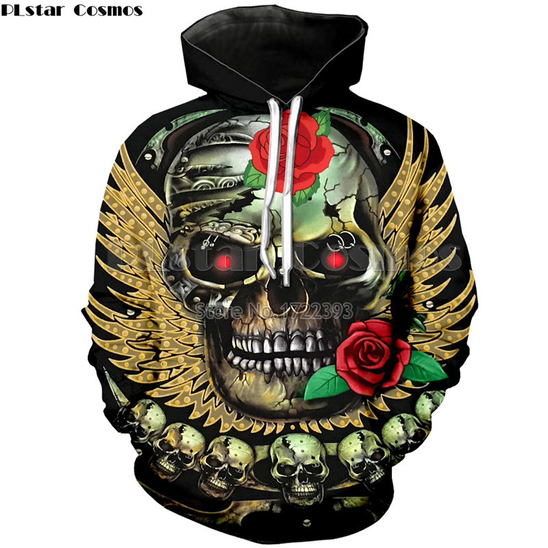 PLstar Cosmos New Fashion Women Roses Skull Hoodies 3D Sweatshirts Men/Woman Long Sleeve Pullovers Hoody Thin Loose Tracksuits