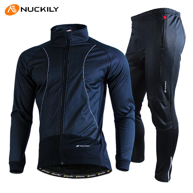 NUCKILY Cycling Jacket Set Men Winter Thermal Outdoor Sportswear Windproof Waterproof Ropa Ciclismo Maillot Bike Jersey Pants