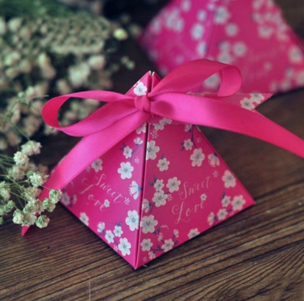 100pcs Hot Sale Floral Flower Printed Gift Box Triangular Pyramid ...