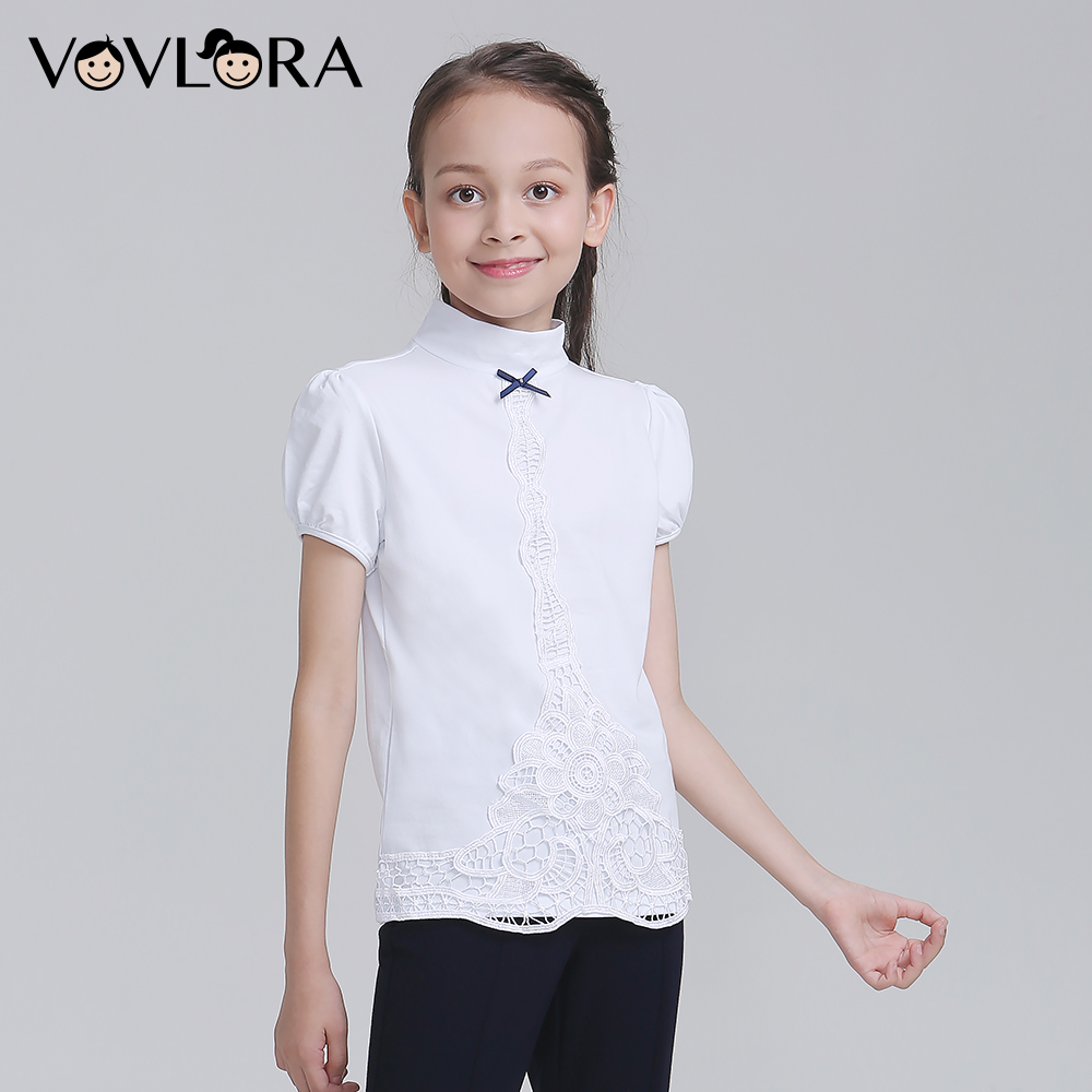 White Lace Cotton Children T-shirt Girls Short Sleeve Knitted Kids Girl Tshirt School Clothes 2018 Size 9 10 11 12 13 14 Years