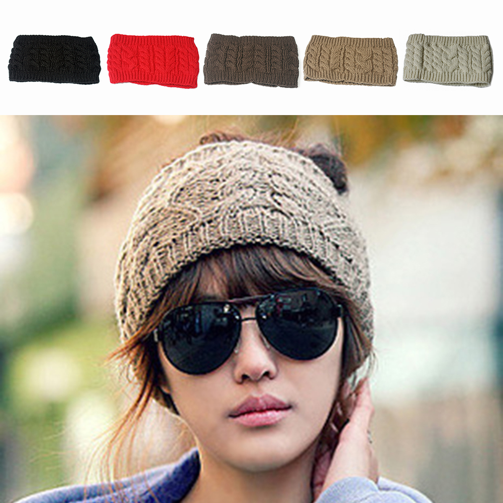 7cde9fb3d56 Outdoor Warm Autumn And Winter New Topless Twisted Wool Hat Headband ...