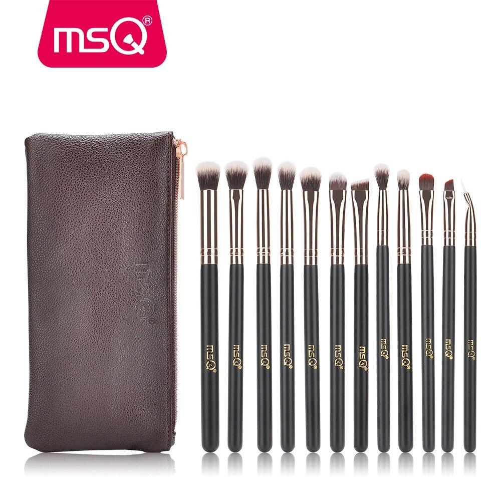 MSQ paleta de 12 piezas de sombra de ojos maquillaje cepillos pincel, maquiagem Pro oro rosa sombra de ojos pinceles de maquillaje suave sintético pelo