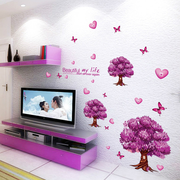 Beautiful Scenery Romantic Purple Tree Backdrop Home Decor Wall Stickers  For Hall and Bedroom Wall Decoration Wallpaper-in Wall Stickers from Home &  Garden ...