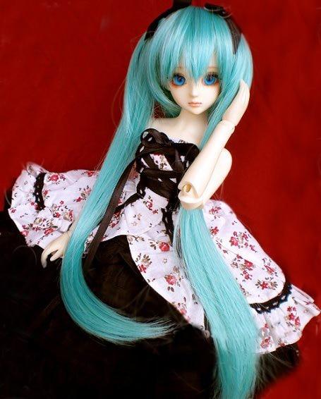 D01-P098 Children Handmade Toy 1/3 1/4 Doll Accessories BJD/SD Doll Wig Miku Green 1pcs