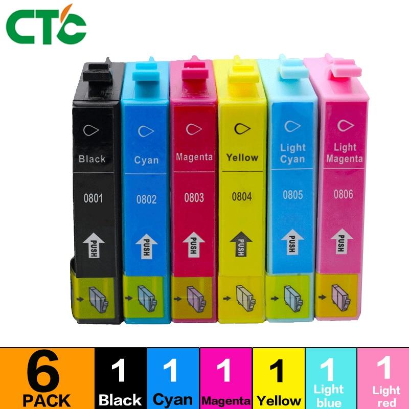 6X T0801 T0802 T0803 T0804 T0805 T0806 Ink Cartridge Compatible For Stylus Photo P50 T59 R265 270 285 290 360 printer