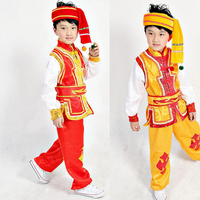Kids chinese folk dance costume Outfits Miao clothing for boy modern clothing children traditional chinese costume With hat