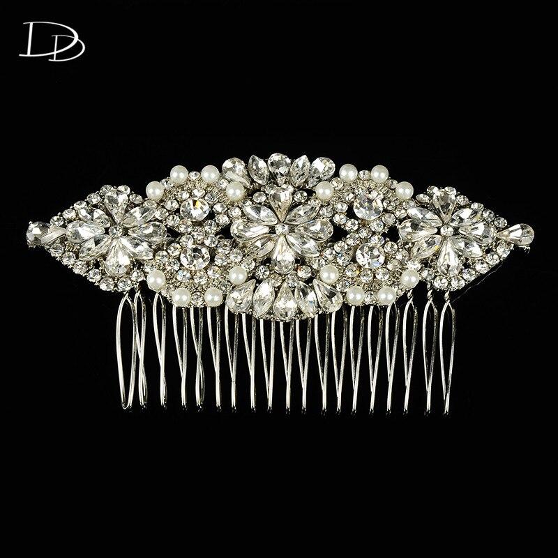 Elegante blanco 585 de color oro rhinestone mujeres peinetas tiara nupcial acces