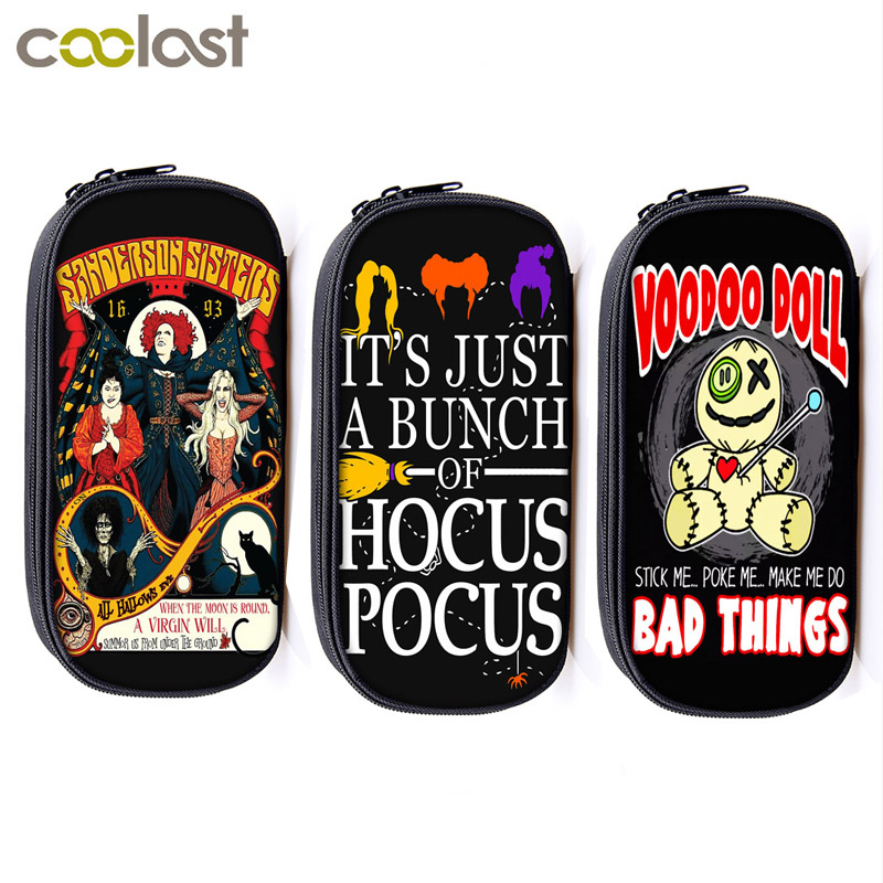 hocus pocus / Voodoo doll / witch print Cosmetic Cases pencil bag girl stationary bag school case women makeup bags storage bags
