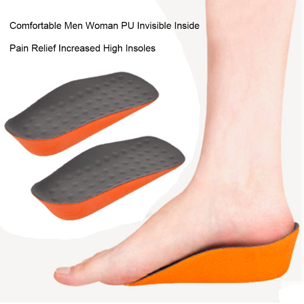 Comfortable Men Woman PU Invisible Inside Increased High Insoles Shoes Support Pad Soft Insole Pain Relief silicone insoles elastic damping cushion insole sport health men s lady pain relief military soft insole foot pad 2016