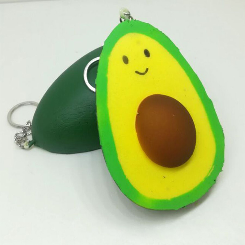 10CM Jumbo Avocado Smile Squishy Straps Keychain Charm Soft Squeeze Slow Rising Simulation Fruit Kids Doll Toys Fun Gift P20