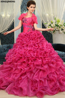 Elegant Quinceanera Dresses with Jacket Rose Red Organza vestidos de 15 anos Sequined Sweet 16 Dresses Lace UP Formal Dresses