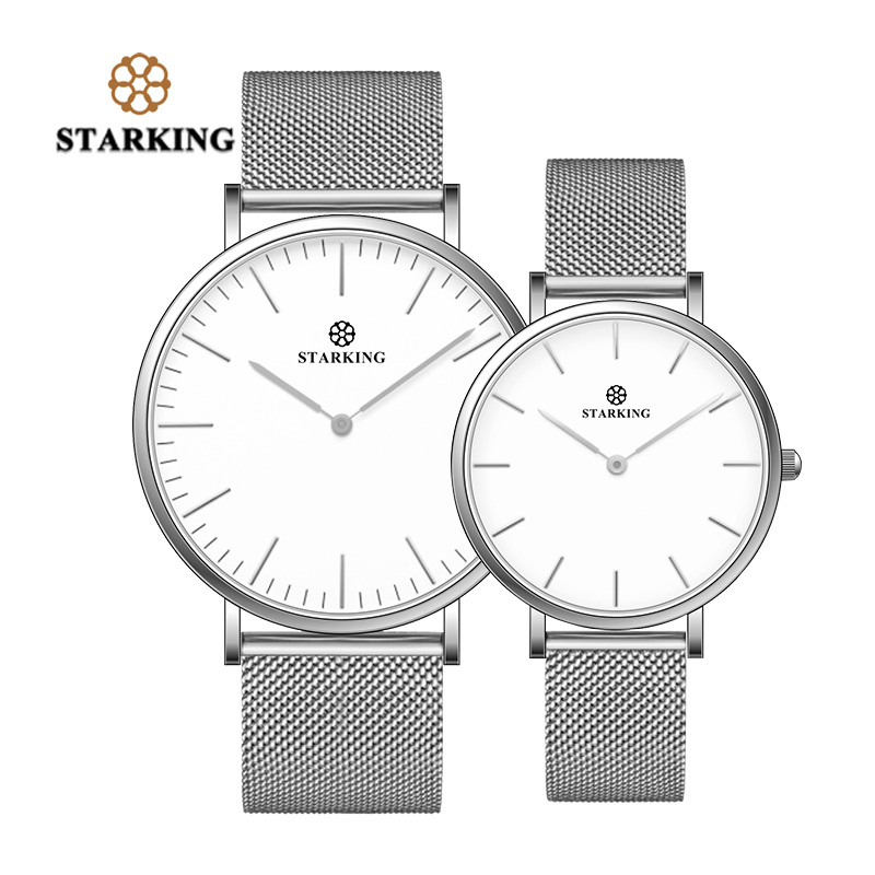 STARKING Fashion Casual Quartz Couple Watches Pair Men And Women Ultra-thin Clock Silver Stainless Steel Mesh Band Wrist Watches