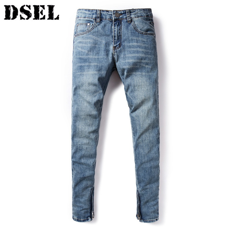 DSEL Men Fashion Jean Night Club Pants Denim Blue Ripped Trousers Straight Denim Thin Stretch Mens Skinny Jeans Brand Dsel Jeans