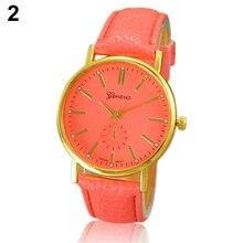 Natural Color Roman Numeral Geneva WristWatch Faux Leather Quartz Analog Wrist Watch New Design 6XBD W2E8D