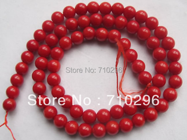worth buying Charming red coral bead 6mm round gem stone loose beads 15.5