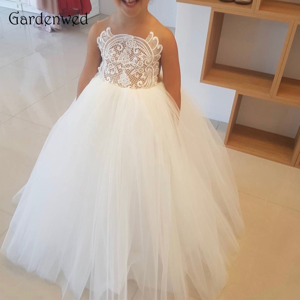 Embroidery Lace Bodice   Flower     Girl     Dress   2019 Sleeveless Floor Length Tulle Ball Gown Pageant   Dress     Girl   Wedding Princess