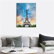 Laeacco Canvas Painting Calligraphy Paris Tower City Scenery Green Trees Sky Wall Art For Home Living Room Bedroom Decoration