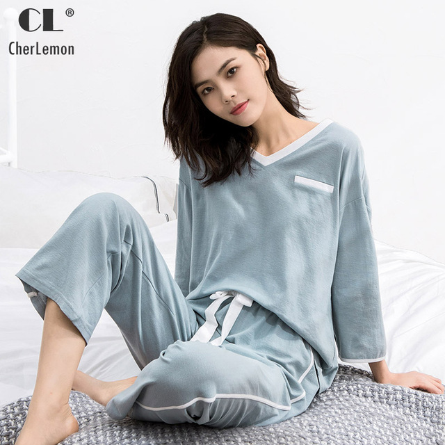 3ca1a776a3 CherLemon Women Cotton Linen Pajamas Homedress Spring Summer Thin Pullover  V Neck Long Sleeve Loungewear Lightweight