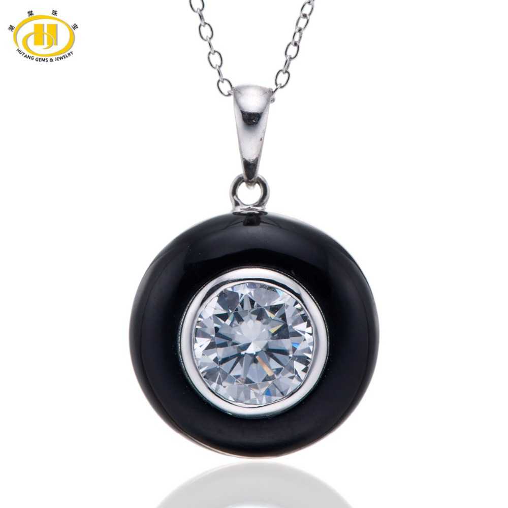 Hutang Black Agate Onyx & CZ Solid 925 Sterling Silver Pendant Necklaces for Women Jewelry Free Chain 18