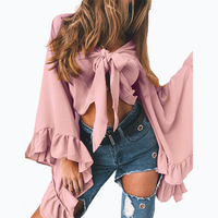 2017 Pink Black Yellow Chiffon Blouse Women Summer Long Flare Sleeve Blouse Blusas Sexy Bow V